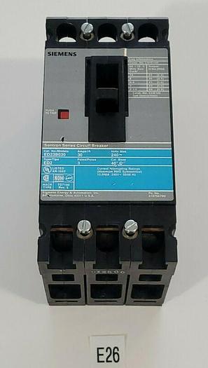 Used *PREOWNED* Siemens ED23B030 30 Amp 3 Pole ED2 Circuit Breaker + Warranty!