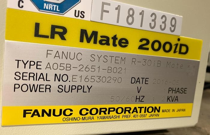 Used FANUC LR MATE 200ID CLEAN ROOM 6 AXIS ROBOT WITH R30IB MATE
