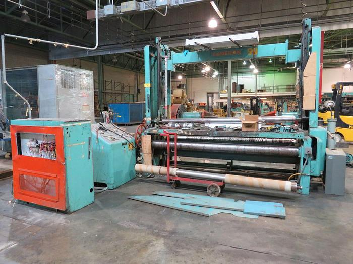 "Used 96"" Cameron Two Drum Slitter Rewinder w/ Shaftless Unwind Stand"