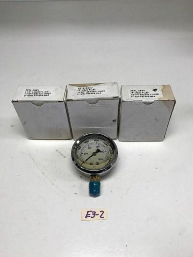 """New Liquid Fluid Pressure Gauge 201L-254V 2-1/2"""" 1/4 NPT 1500 Psi Qty3 Warranty!"""