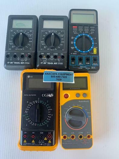Used BK Tool Kit, RadioShack, LG, Protek Lot of 5 Digital Multimeters (7629) W