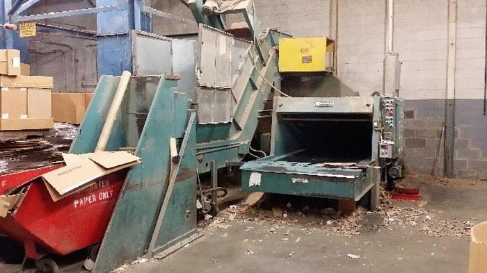 Used Maren Mdl. 60 Corrugated Box Shredder w/  Dump Cart & Conveyor