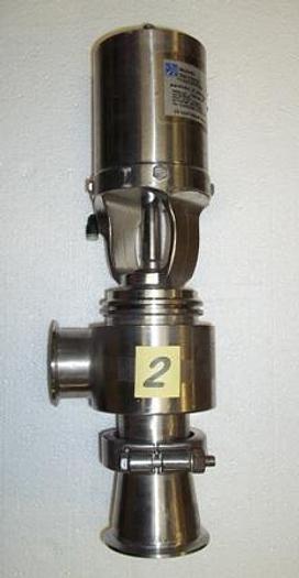 "Used 2 1/2"" Waukesha Cherry-Burrell Sanitary Air Actuated Diverter Valve - Stainless Fittings Equipment"