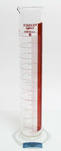 Used Kimax Kimble 2000 mL 20024-D Graduated Cylinder Red-lined w/ Spout  (6054)