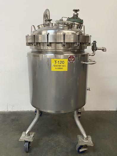 Used Paul Mueller 430 Liter 45 PSI Stainless Steel 75 PSI Jacketed Reactor w/ Mixer