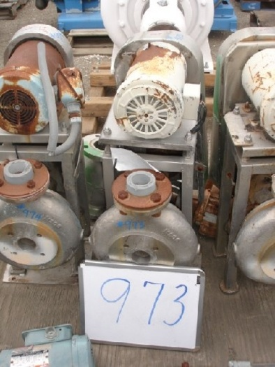"""Wallwin 2x1.5"""" centrifugal pump s/s contact s/s flanged in/out 2 Hp-1725 RPM-230/460 v. belt drive s/s base mounted"""" #973"""