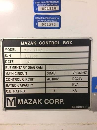 2003 VMC MAZAK 410A CNC Vertical Machining Center