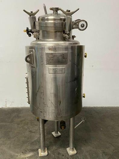 Used LEE 150 Liter Stainless Steel Jacketed 45 PSI Reactor w/ Sight Glass & Valves