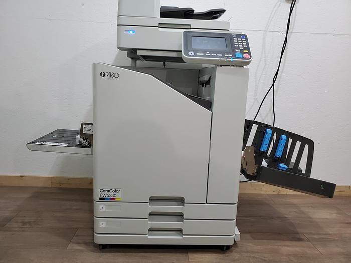 Used Riso ComColor FW5230 Full Color Inkjet Printer with Scanner and Auto Stacking Tray.