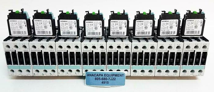 Used Siemens PA66-GF25FR Contactor 3RT1025-1B w/ Aux Switch Block LOT of 8 (4915)