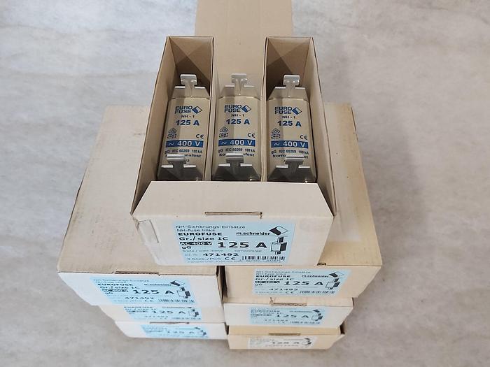 3 Stück NH Sicherungseinsätze Größe 1, 125A, NH-1, 400V, Eurofuse,  neuwertig