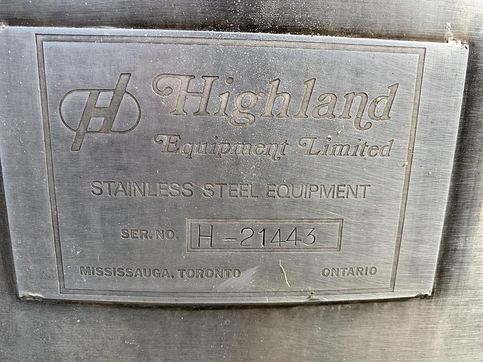 Highland 300 Gallon Stainless Steel Mix Tank