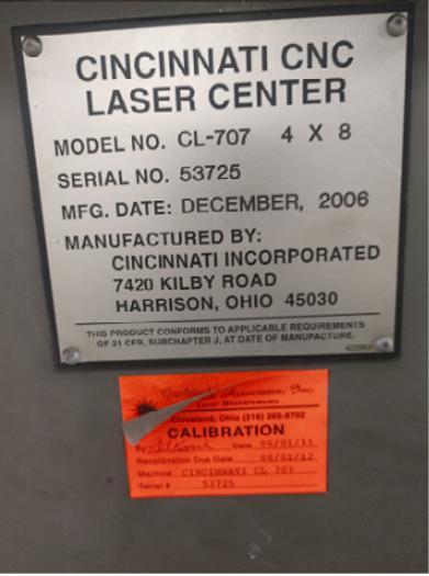 Cincinnati CL-707 Laser Center