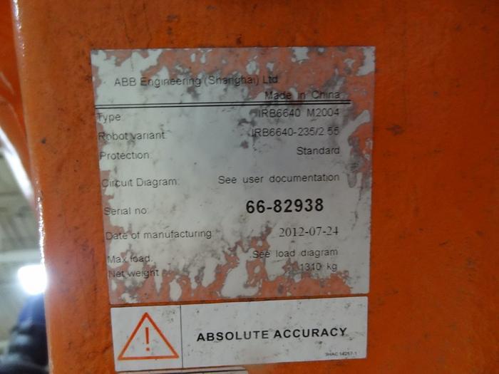 ABB IRB 6640 6 AXIS CNC ROBOT 235KG X 2.55 REACH IRC5
