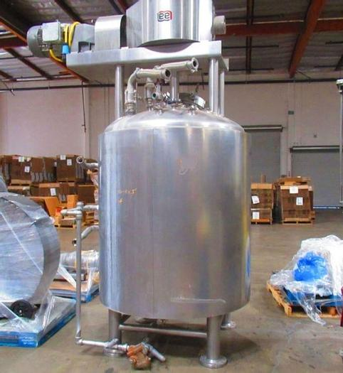 Used 400 GALLON LEE COUNTER-ROTATING SWEEP MIX TANK - 316 S/S - JACKETED