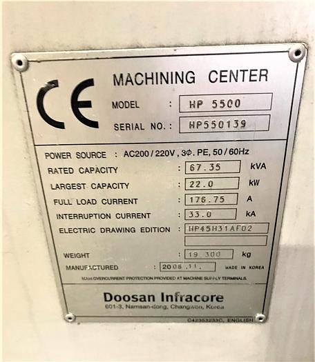 2008 DOOSAN HP 5500