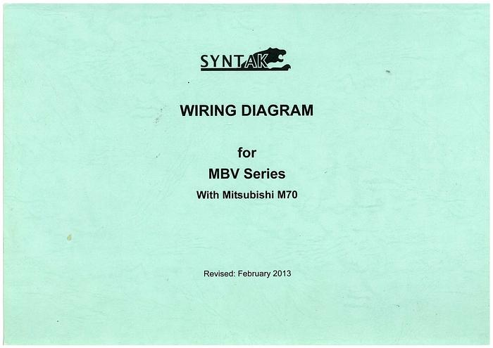 Used Manual for Used SYN Mill Vertical Machine Center Wiring Diagram For MBV Series With Mitsubishi M70