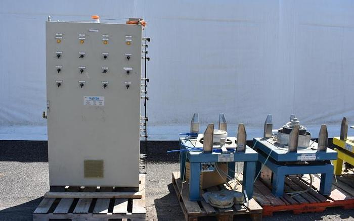 USED MATCON TOTE BLENDER PACKAGE WITH 16 IBC TOTES & DISCHARGE STATION