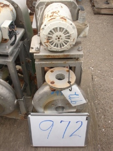 """Wallwin 2x1.5"""" centrifugal pump s/s contact s/s flanged in/out 2 Hp-1725 RPM-230/460 v. belt drive s/s base mounted"""" #972"""