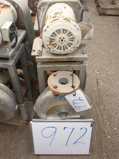 "Used Wallwin 2x1.5"" centrifugal pump s/s contact s/s flanged in/out 2 Hp-1725 RPM-230/460 v. belt drive s/s base mounted"" #972"
