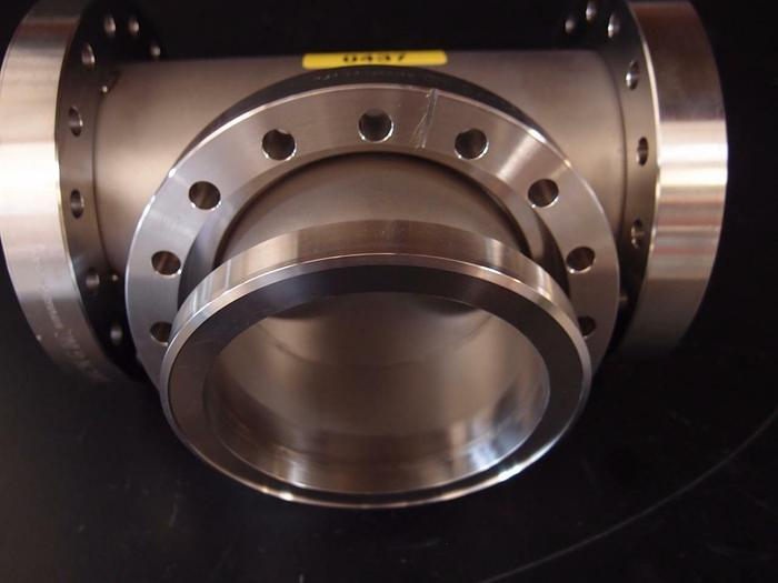 """Used MDC Del-Seal CF T-Fitting with three 5 15/16"""" Flanges 2 rotatable, 1 non (437)"""