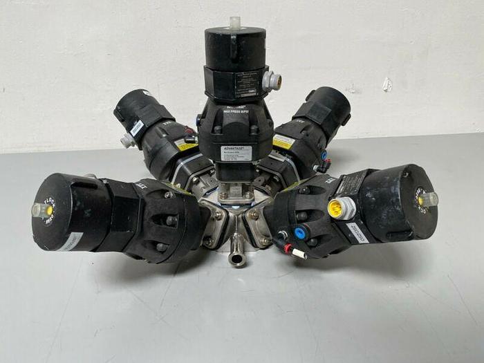 Used 5 ITT Sherotec Stainless Steel Diaphragm Valves w/ Position Monitors
