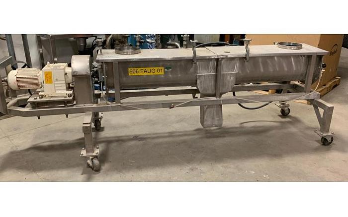 "USED SCREW CONVEYOR, 9"" DIAMETER X 72'' LONG, STAINLESS STEEL"