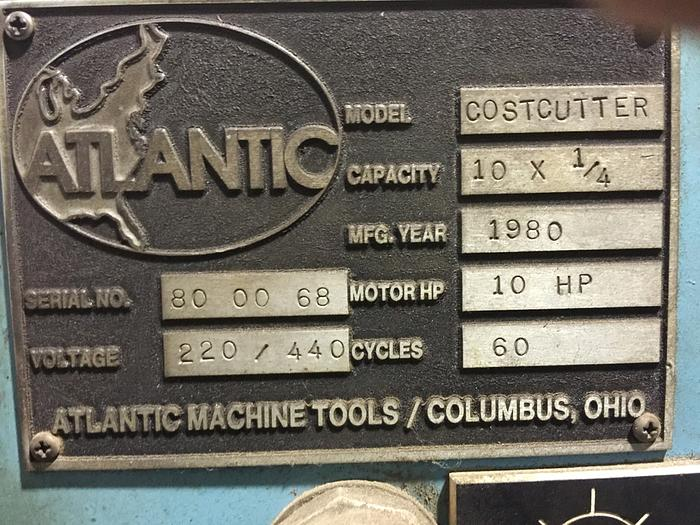 "ATLANTIC 10' X 1/4"" COST CUTTER HYDRAULIC POWER SQUARING SHEAR"