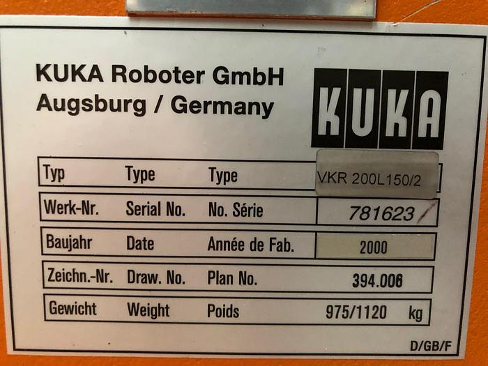 2000 INDUSTRIEROBOTER KUKA VKR 200L 150/2