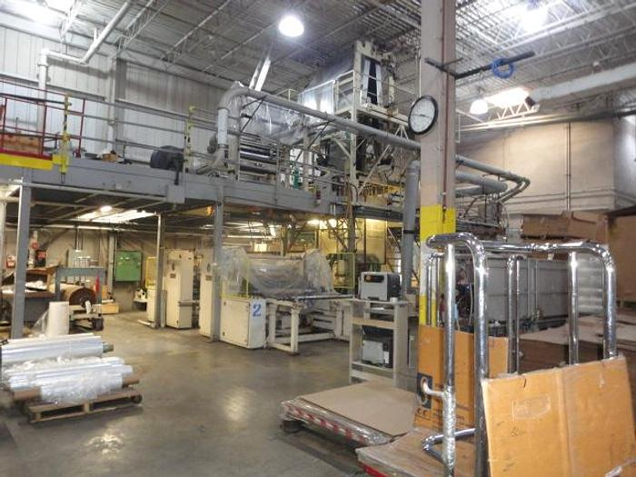 """Used 64"""" Complete LLDPE/LDPE Extrusion Line. 1 ea 4 ½"""" 32:1 L/D water cooled Egan Extruder with Berringer screen changer"""