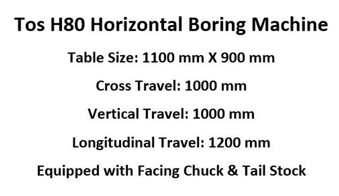 TOS Varnsdorf H80 Horizontal Boring Machine