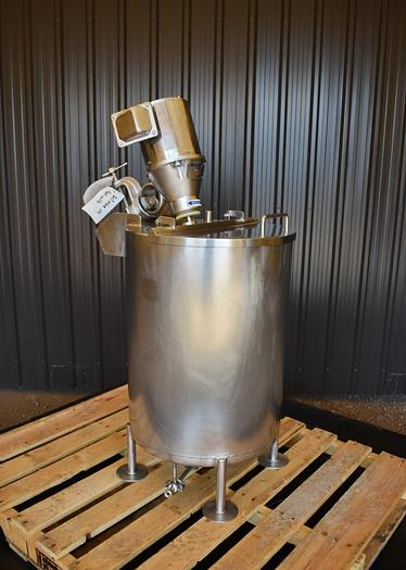 USED 25 GALLON STAINLESS STEEL TANK, WITH MIXER