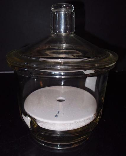 """Used Thick Borosilicate Glass Desiccator 8"""" with Desiccant (869)"""