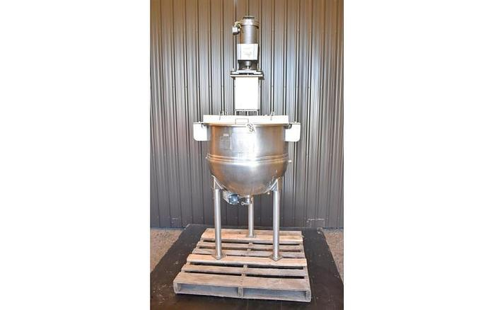 USED 50 GALLON JACKETED KETTLE, STAINLESS STEEL WITH LIGHTNIN MIXER