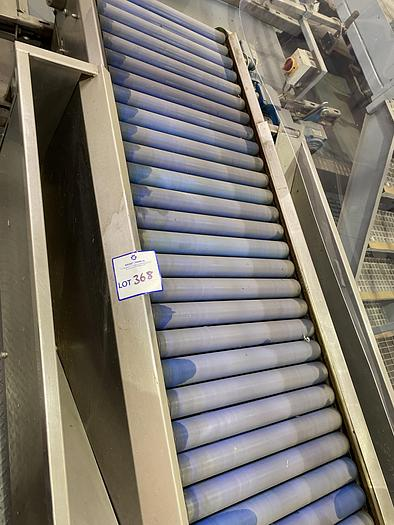 Used Stainless Steel inspection roller table with gantry 2m L 0.7m W