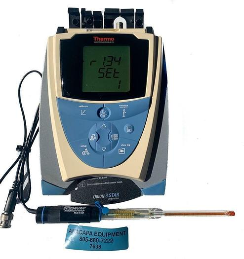 Used Thermo Scientific Orion 3 Star pH Benchtop Meter W/Orion 8103BNUWP Probe (7638)W
