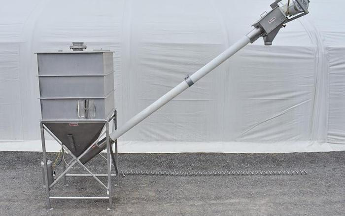 USED FLEXICON CONVEYOR SYSTEM, 5'' DIAMETER X 17' LONG, STAINLESS STEEL, SANITARY