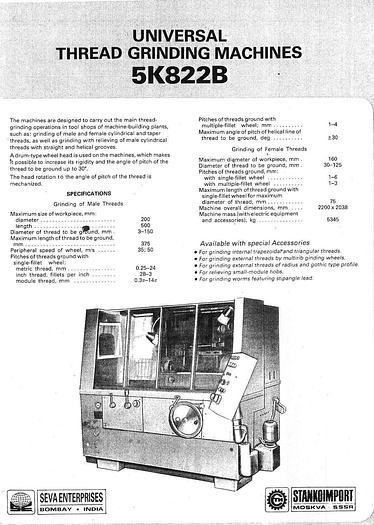 Used Stanko Russian Thread Grinder 5K822B