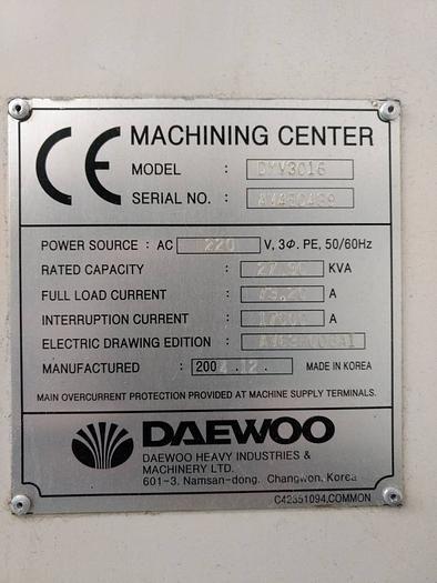 2004 DAEWOO DMV3016 CNC Mill