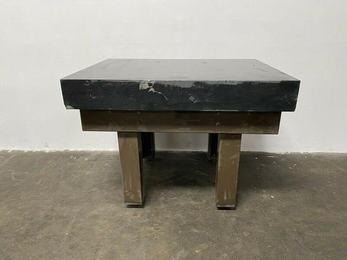"""Used Granite 0-Ledge 48"""" x 36"""" x 6"""" Precision Surface Plate w/ Adjustable Steel Stand"""