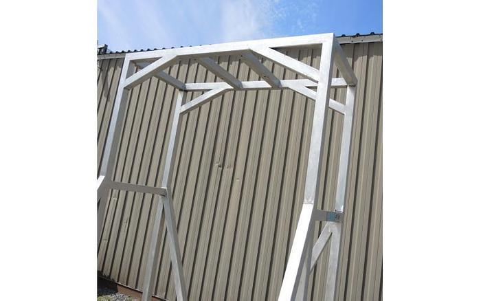 USED STAINLESS STEEL FRAME, 82'' X 82'' X 115'' HIGH
