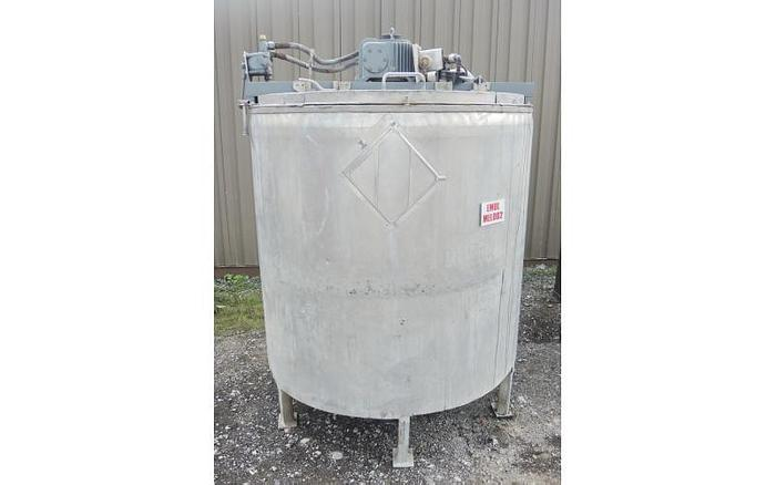 USED 1080 GALLON TANK (2 X 540 GALLONS), STAINLESS STEEL, HYDRAULICALLY DRIVEN MIXING SYSTEM