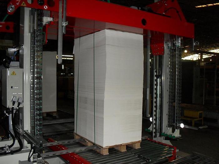 Vollautomatische vertikale Umreifungsanlage mit Palettenpresse für Kartonagen/Wellpappe