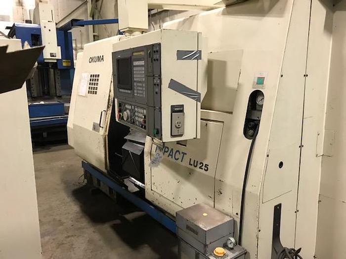 Used 1995 OKUMA LU25 CNC LATHE, Twin Turret, Tailstock,OSP7000L Control LU25