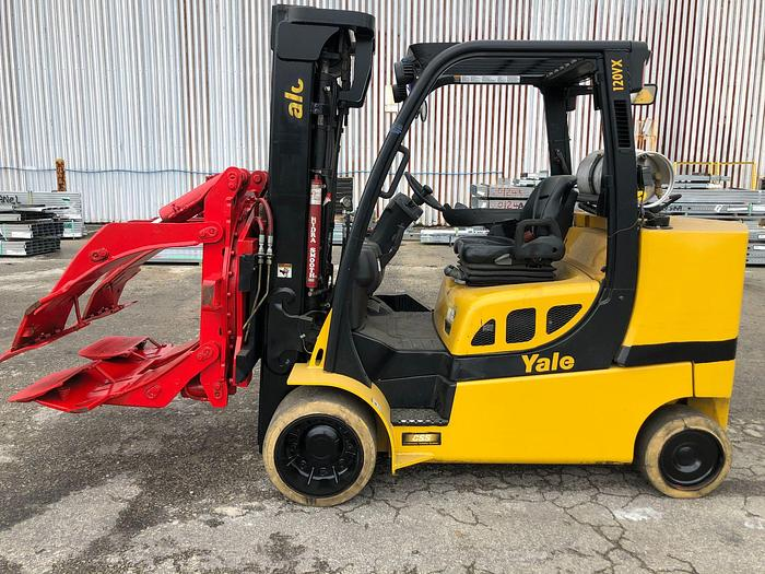 "Used 12,000 POUND YALE ROLL CLAMP TRUCK MODEL GLC120VXPRS W/ 60"" BOLZONI CLAMP MFG. 2012"