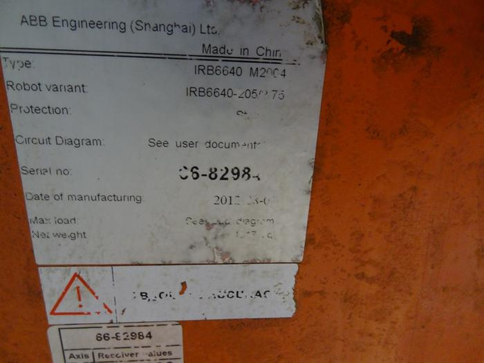ABB IRB 6640 6 AXIS CNC ROBOT 205KG X 2.75 METER REACH IRC CONTROLS