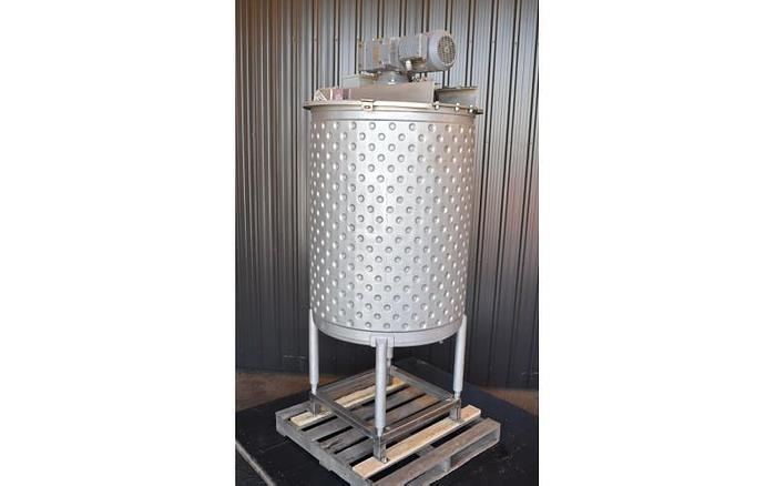 USED 200 GALLON JACKETED TANK, 304 STAINLESS STEEL, SANITARY WITH 2 HP MIXER