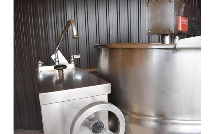 USED 80 GALLON JACKETED TILTING KETTLE, STAINLESS STEEL, WITH SCRAPE AGITATION