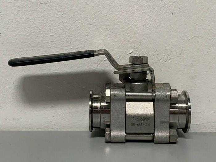 "Used Whitey SS-65TSC16 Stainless Steel Sanitary Ball Valve 300 PSI w/ 1"" Sanitary Fit"