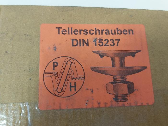100 Stück Tellerschrauben + Muttern + Scheiben, M8x25, DIN15237, St. galvan,  neu